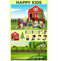 Happy kids reading in the park vector