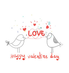 happy valentine daylovely bird with heart vector image