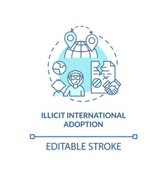 Illicit international adoption blue concept icon vector