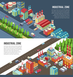 Industrial zone horizontal banners vector