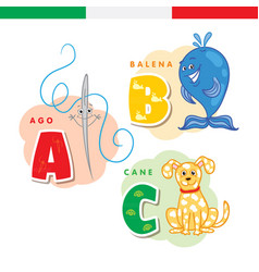 italian alphabet needle whale dog vector image