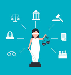 Lady justice or iustitia in flat stile vector