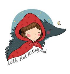 Little red riding hood fairy tale cute vector