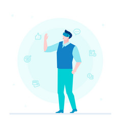man in vr glasses - flat design style colorful vector image