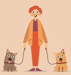 man with animals vector image