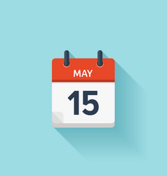 May 15 flat daily calendar icon date vector