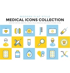 Medicine icons set Doctors tools for vector image