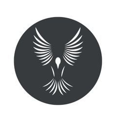Monochrome round bird icon vector