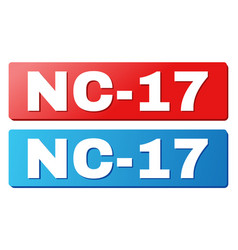 nc-17 text on blue and red rectangle buttons vector image