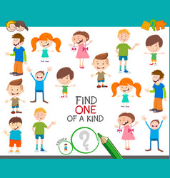 One of a kind game with funny cartoon children vector