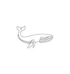 One single line drawing giant blue whale vector