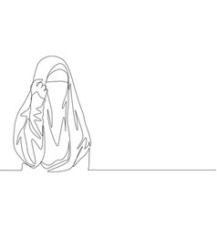 One single line drawing young happy attractive vector