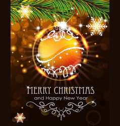 orange christmas ball with sparkles and fir vector image