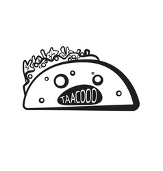 outline halloween spooky taco character vector image