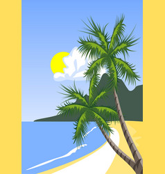 Palm tree on the tropical beach vector