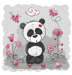 Panda with flowers vector