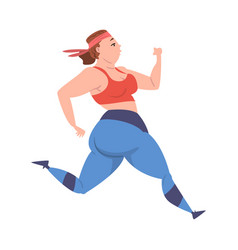 plump girl running weight loss process young vector image
