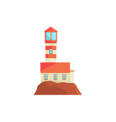 red lighthouse searchlight tower for maritime vector image