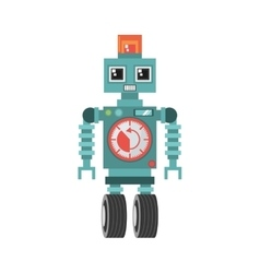robot machine alarm clock wheel siren vector image