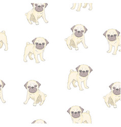 Seamless pattern with cute cartoon dog puppies vector