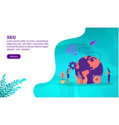 seo concept with character template for banner vector image