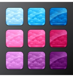 Set backgrounds with clouds for app icons vector