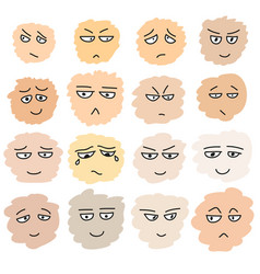 Set of hand drawn funny faces vector