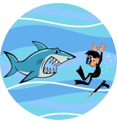 Shark and diver vector