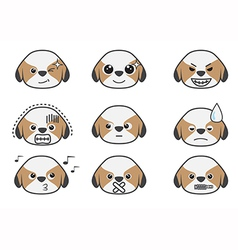 Shih Tzu cartoon emotion vector