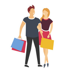shopping man and woman or couple with bags or vector image