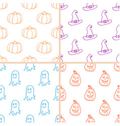 simple halloween doodle patterns vector image