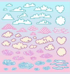 sketch colorful beautiful clouds set vector image