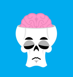 skull and brain sad emoji skeleton head sorrowful vector image