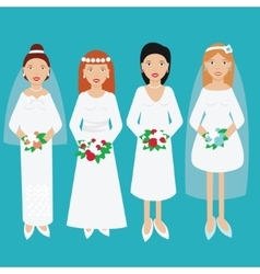 Smiling happy brides in wedding dresses vector