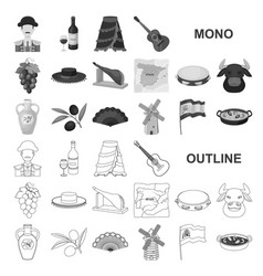 Spain country monochrom icons in set collection vector