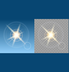 sun effect in blue sky composition set vector image