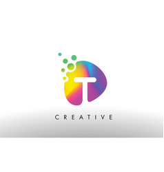 T colorful logo design shape purple abstract vector