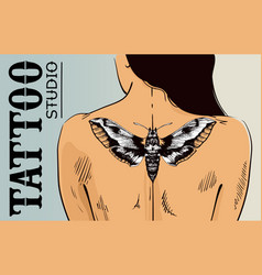 Tattoo studio banner woman with tattoo on back vector