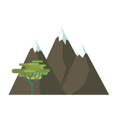 The mountains and tree vector