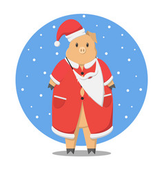 the pig is dressed in santa claus vector image