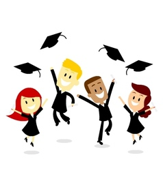 Throwing Cap in Graduation Day vector