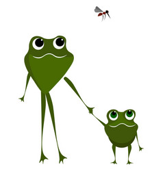 Two frogs walking holding their hands and a vector