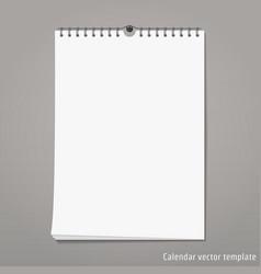 wall calendar mock up vector image