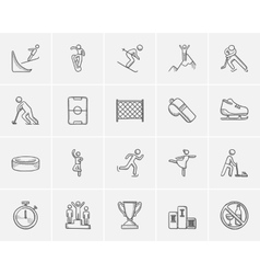 Winter sport sketch icon set vector image
