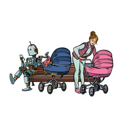 young mother and robot with a bacarriage park vector image