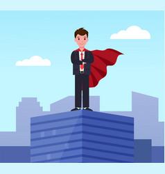 Young superman executive worker in superhero cloak vector