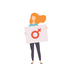 young woman standing and holding banner with vector image