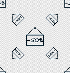 50 discount icon sign Seamless pattern with vector image vector image