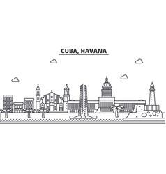 Cuba havana architecture line skyline vector