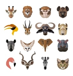 Set of african animals faces isolated icons flat vector